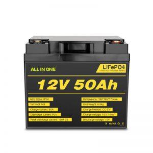 Paket Batere Lifepo4 Siklus 12V 50Ah sing Bisa Diisi ulang kanggo Sistem Tenaga Listrik