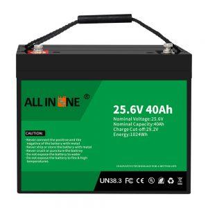 25.6V 40Ah Baterai Fosfat Besi Litium