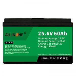 25.6V 60Ah keamanan / batere LFP umur dawa kanggo RV / Caravan / UPS / Golf Cart 24V 60Ah